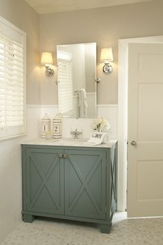 Traditional Powder Room with Restoration Hardware Vintage Rectangular Pivot Mirror