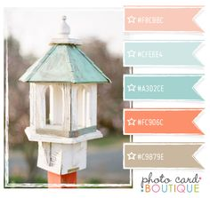 Love the birdhouse as well as the colours. Cute for a neutral baby shower and a room palette for twins