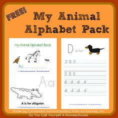FREE Printable: My Animal Alphabet Pack :: Download this free printable animal alphabet back to enjoy with your young learner! :: SoYouCallYourselfaHomeschooler.com