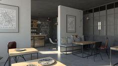 Kawiarnia industrialna   Industrial coffeshop - Marta Czeczko - architektura wnętrz   interior design Divider, Industrial, Interiors, Room, Furniture, Home Decor, Bedroom, Decoration Home, Room Decor