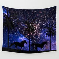 Galloping horses under starry sky Wall Tapestry by Laureenr