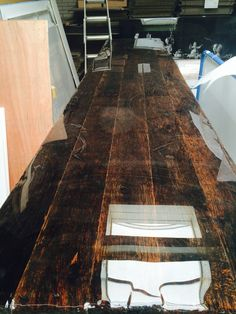 Old wood with liquid gloss: tabletop