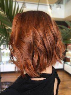 Short Copper Hair, Red Copper Hair Color, Ginger Hair Color, Color Red, Red Hair Lob, Red Hair Long Bob, Red Hair Cuts, Long Bob Haircuts, Bob Hairstyles