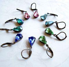 Sapphire Blue Teardrop Rhinestone Glass Jeweled by TheBrassHussy, $10.00 #jewelryonetsy #rhinestone