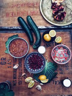 lebanese food kitchen food zucchini lemon yogurt pomegranate garlic