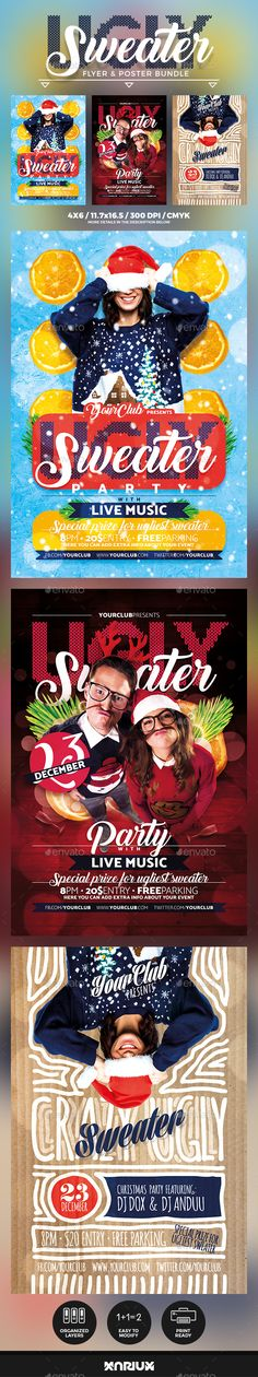 cc119f22f Buy Ugly Sweater Flyer   Poster Bundle by Mariux on GraphicRiver. Check out  the SOCIAL BUNDLE version here Ugly Sweater Party Flyer and Poster Bundle  Print ...