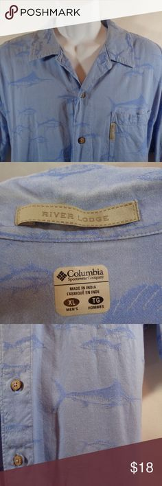 Columbia River Lodge Fishing Shirt XL Swordfish FLASH SALE! (Please no offers on flash sale items)   Men's XL Columbia Shirt Short Sleeve Button Down  Excellent Condition! Awesome Shirt!  * No Trades * Reasonable Offers * Happy Shopping! :) Columbia Shirts Casual Button Down Shirts