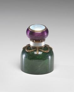 VMFA Inkwell by Fabergé firm nephrite, gold, enamel, rock crystal