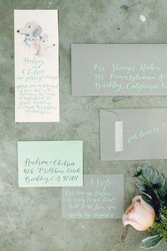 aqua and grey wedding invitations, photo by Danfredo Photos + Films http://ruffledblog.com/puppy-wedding-styled-shoot #weddinginvitations #stationery