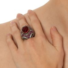 The Ottoman Dide Rings with Zircon Garnet Ruby by Rosestyle, $60.00
