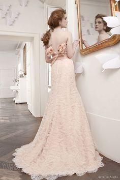 atelier aimee bridal 2013 rosa cipria peach pink lace sheath gown