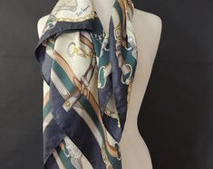 Luisa Spagnoli Vintage Large Square Silk Scarf in Equestrian Theme Scarfs, Equestrian, Silk, Trending Outfits, Unique Jewelry, Vintage, Scarves, Horseback Riding, Costume Jewelry
