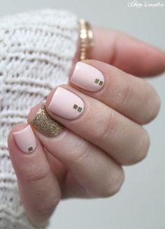 pastel nail art #pink #skittlette #gold #glitter #pastel #nails #cocosnailss