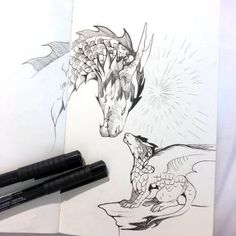 DeviantArt - Discover The Largest Online Art Gallery and Community Animal Sketches, Drawing Sketches, Art Drawings, Dragon Medieval, Sweet Drawings, Dragon Artwork, Creature Drawings, Grafik Design, Art Auction