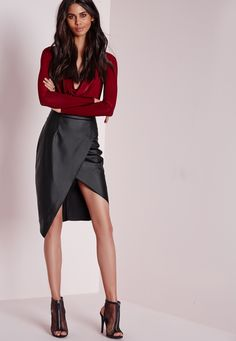 Faux Leather Wrap Over Midi Skirt Matte Black - Skirts - Faux Leather & Suede Skirts - Missguided