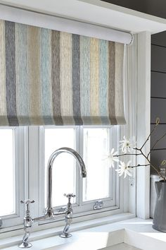 Roller blind in the NEW woven fabric Scandi Stripe colour Cool, the colours on this fabric work tremendously with a variety of colours, it is great as curtains, blinds, cushions and quilts.