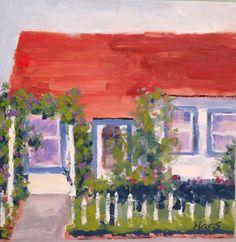 COTTAGE HOUSE,  Original Oil,  Honeyscolors,  Plein air, honeyscolors, home decor, shabby chic, red roof, white house, arbor, flowers, roses, white fence