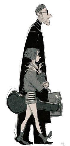 Leon: the professional ART - Leon and Mathilda Character Concept, Character Art, Concept Art, Leon The Professional, Character Illustration, Illustration Art, Mathilda Lando, Comic Manga, Bd Comics