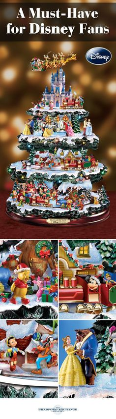 Invite over 50 of your favorite Disney characters to your home for the holidays with this perennial favorite. Magically alive with 4 tiers of lights, music and motion, this Disney Christmas tree décor showcases festive vignettes starring Mickey Mouse, Winnie the Pooh, Snow White and more