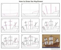Draw the Mayflower - Art Projects for Kids Cc Drawing, Drawing Lessons, Drawing For Kids, Art Lessons, Art For Kids, Ship Drawing, Fall Art Projects, Projects For Kids, First Fleet