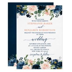 Shop Navy Blue Blush Pink Rose Rustic Boho Wedding Invitation created by blissweddingpaperie. Personalize it with photos & text or purchase as is! Rustic Boho Wedding, Floral Wedding, Wedding Colors, Geometric Wedding, Blue And Blush Wedding, Wedding Flowers, Blush Rose, Blush Pink, Navy Pink Weddings
