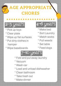 Age appropriate chores for kids. Free printable chores chart. Chores by age. Chores with kids