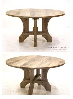 A Pierre Cronje 'Simply Pierre' Zandloper Round dining table in French Oak with a blackwash finish - Ø1400x750mm