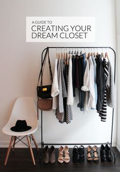 Create the closet of your dreams by using a clothing rack. It's clean, minimal, and organized. Narrow down your wardrobe to the essentials. First, pile up all your clothes on your bed and then select only the items you absolutely love. Everything that's left gets packed up and stored in a bin with a lid. Follow the same process for your purses and hang your favorites on the rack. Limit yourself to displaying 5 pairs of shoes you wear all the time. Consult eBay's guide to a dream closet.