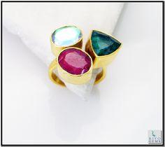 Multi Red Onyx Gemstone 18k Gold Plating Cocktail Ring Sz 8 Gprmul8-5322 http://www.riyogems.com