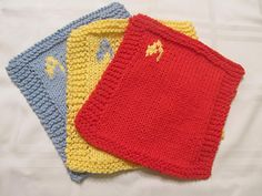 This pattern is super easy and way fun. You can knit a dishcloth or a hot pad. It doesn't take a long time to knit and you end up with a fantastic finished product. You can knit this in all of the Star Trek colors. It's a great present for any Trekkie. Now available to download for free!