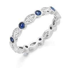 Beautiful eternity ring made of marquise cut diamonds and round sapphires set in white gold. This eternity ring may be made in yellow gold or rose gold Marquise Cut Diamond, Diamond Rings, Diamond Cuts, Daisy Ring, Sapphire Eternity Ring, Eternity Rings, Or Rose, Rose Gold, Romantic Weddings