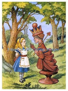 Whimsical Alice In Wonderland Fabric Block John Tenniel Illustration Alice w Chess Queen 8x10 on White Cotton