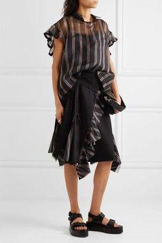 Sacai | Ruffled striped silk-organza top | NET-A-PORTER.COM