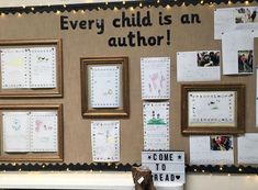 Every child is an author. This is my celebration of children's mark making, story scribing and writing wall. We found that celebrating their work and putting it straight into display promotes as sense of pride and recognition for the children's work. Phonics Display, Literacy Display, Teaching Displays, Reading Display, Class Displays, Early Years Displays, Primary School Displays, Classroom Display Boards, Classroom Layout
