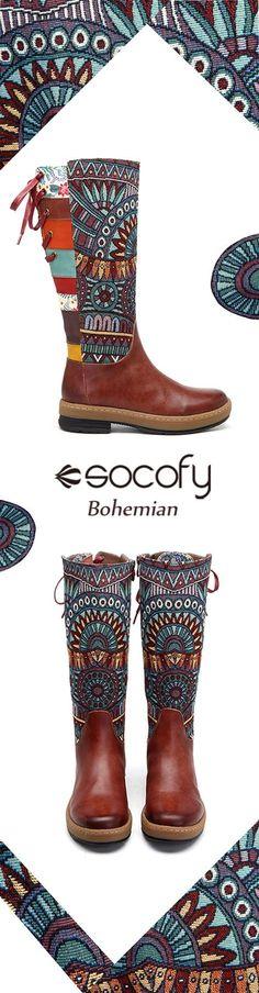 US$68.63 SOCOFY Bohemian Splicing Pattern Flat Leather Knee Boots
