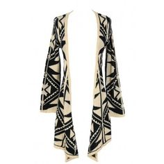 Black and Beige Tribal Pattern Cardigan - OUTERWEAR