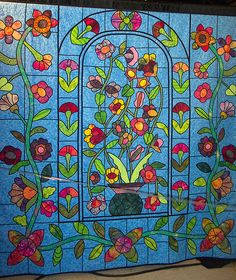 Floral Stained Glass Quilt by zephrene, via Flickr