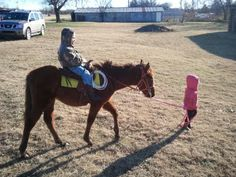 10 month old filly being rode