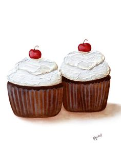 Cupcake+Painting+Print+Giclee+Fine+Art+Archival+by+PainterPeeps,+$18.00