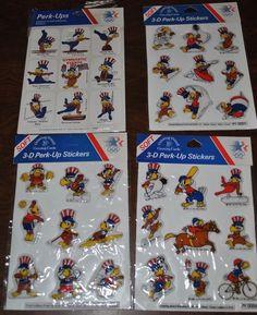 Vtg 1984 DBGCI OLYMPIC 4 Stickers Packs Drawing Board Greeting Card Perk Up #DrawingBoard