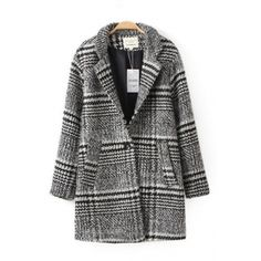 Cheap New Style Turndown Collar Long Sleeve Single-breasted Houndstooth Print Grey Regular Coat_Coat&Jacket_Outerwear&Coats_Womens Clothing_Cheap Clothes,Cheap Shoes Online,Wholesale Shoes,Clothing On lovelywholesale.com - LovelyWholesale.com