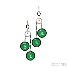 18kt White Gold, Jade, and Diamond Earrings, each with two jade pi within onyx surrounds, diamond melee accents, lg. 3 1/2 in.