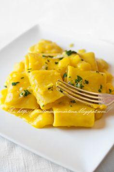 Paccheri risottati alla crema di patate e zafferano