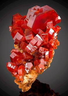 Vanadinite is one of the most striking minerals, with its stunning bright-red and orange crystals from - Mibladen Mining -Tafilalet Region, Morocco Credit: ExceptionalMinerals.