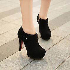 Calçados+Femininos+-+Botas+-+Saltos+/+Inovador+/+Bico+Fechado+-+Salto+Agulha+-+Preto+/+Vermelho+/+Vinho+-+Courino+-Social+/+Casual+/+–+USD+$+27.99