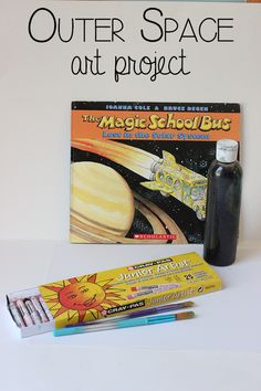 I love this idea of splattering paint with a toothbrush to for Outer space project