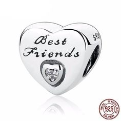 Authentic Friendship Heart, Clear CZ 925 Sterling Silver Charms Fit Pandora and Other European Charm Bracelets** Find out more about the great product at the image link. (This is an affiliate link) Charms Pandora, Pandora Bracelets, Charm Bracelets, Silver Bracelets, Pandora Jewelry, Silver Beads, Silver Charms, Silver Earrings, Silver Ring