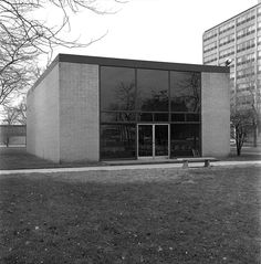 """Robert Carr Memorial Chapel of St Savior, South Side campus of the Illinois Institute of Technology (IIT), 65 E. 32nd Street, Chicago (1952) by Mies van der Rohe. Dubbed """"The God Box,"""" this is the only religious building that Mies van der Rohe ever designed. It has the same boxy mass as every other Mies project"""
