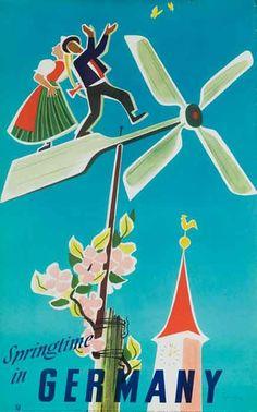 1950s Springtime in Germany vintage travel poster