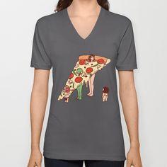 P is for Pizza 2 V-neck T-shirt by Kimiaki Yaegashi - $24.00